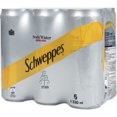 Schweppes Soda Water Can 330ml (6 Pack)